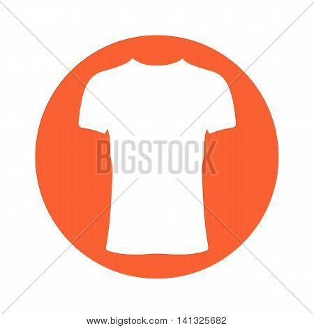 T-shirt icon illustration. White t-shirt on orange background.