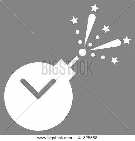 Time Fireworks Charge vector icon. Style is flat symbol, white color, rounded angles, gray background.