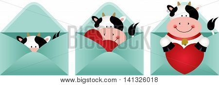 Scalable vectorial image representing a cute cow inside love letter, isolated on white.