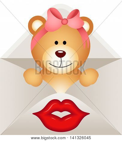 Scalable vectorial image representing a girl teddy bear inside lletter, isolated on white.
