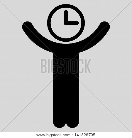 Time Manager vector icon. Style is flat symbol, black color, rounded angles, light gray background.