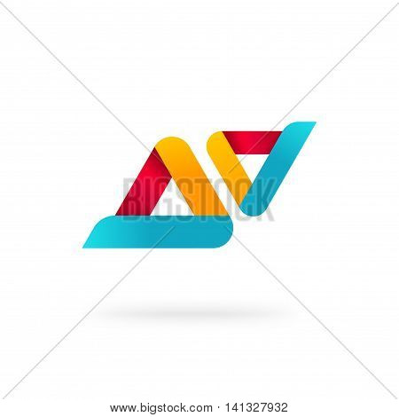 Abstract two rounded colorful geometric triangles vector logo template isolated on white, creative identity elements design, technology brand symbol, blue orange red color logotype