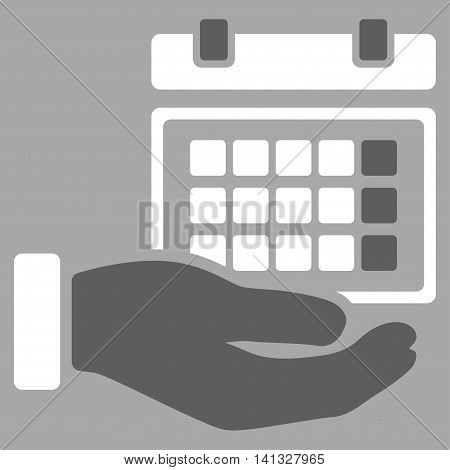 Service Timetable vector icon. Style is bicolor flat symbol, dark gray and white colors, rounded angles, silver background.