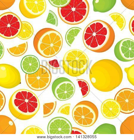 Seamless pattern of citrus fruits - lemon, orange, grapefruit, lime. Whole fruits and slices on white background. Vector illustration in color. Cover for design.