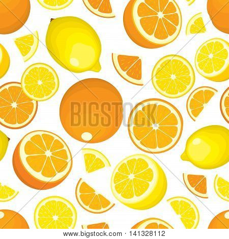 Seamless pattern of citrus fruits - lemon and orange, whole products and slices on white background. Vector illustration in color. Design cover.
