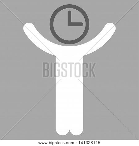 Time Manager vector icon. Style is bicolor flat symbol, dark gray and white colors, rounded angles, silver background.