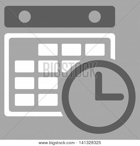 Timetable vector icon. Style is bicolor flat symbol, dark gray and white colors, rounded angles, silver background.