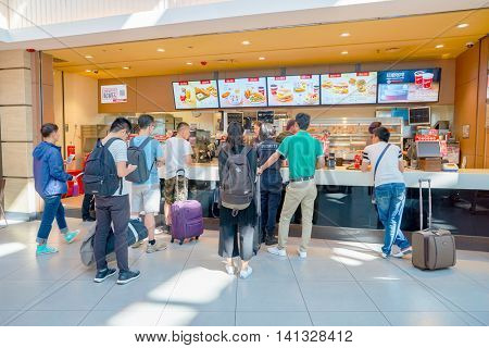 SHENZHEN, CHINA - MAY 11, 2016: KFC in Shenzhen Bao'an International Airport. Kentucky Fried Chicken, or just KFC, is a fast food restaurant chain that specializes in fried chicken.