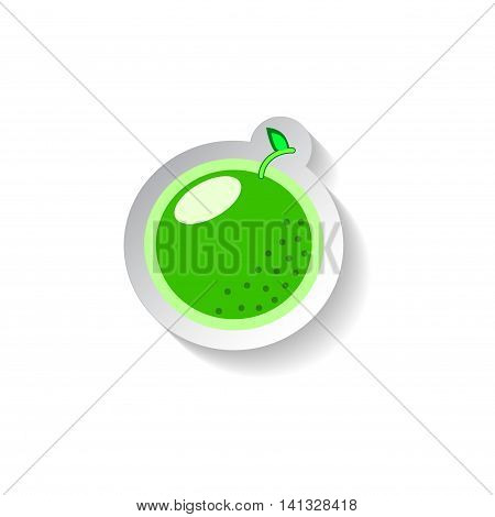 Lime vector illustration isolated on white background. Flat style fruit with shadow. Fresh green lime for vitamin juice or mojito. Food tag. Dessert label. Green lime symbol logo icon. Summer patch
