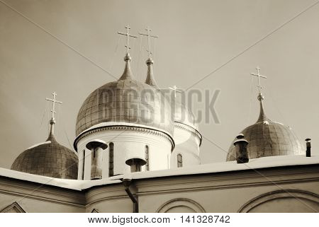 Assumption church. Sepia photo. Moscow Kremlin. UNESCO World Heritage Site.