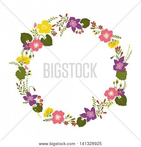 floral wreath isolated on white