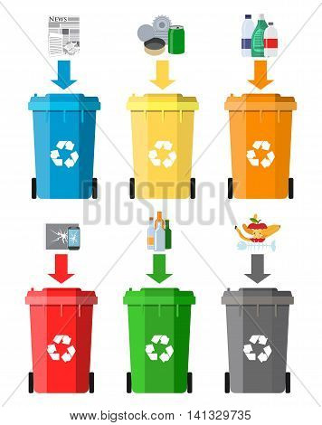 Waste management concept. Waste segregation. Separation of waste on garbage cans. Sorting waste for recycling. Disposal waste. Colored waste bins with trash. Vector illustration in flat design