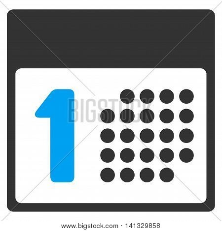 First Day vector icon. Style is bicolor flat symbol, blue and gray colors, rounded angles, white background.