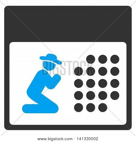 Pray Binder vector icon. Style is bicolor flat symbol, blue and gray colors, rounded angles, white background.