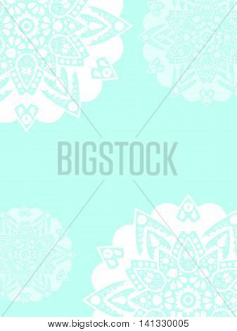 Snowflakes postcard or book cover vector background. Vertical banner template with place for text. Backdrop for wedding invitation party paper design Christmas postcard. White mandala ornament