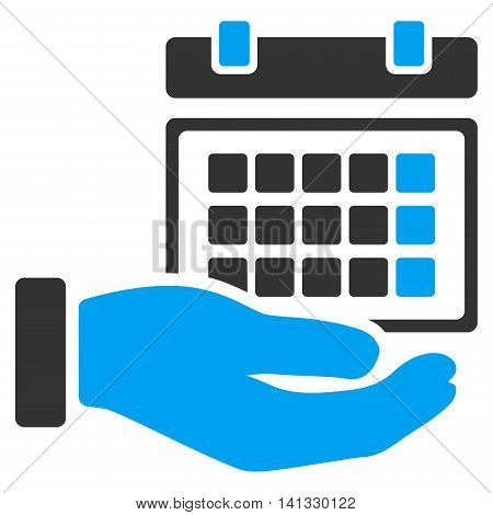 Service Timetable vector icon. Style is bicolor flat symbol, blue and gray colors, rounded angles, white background.