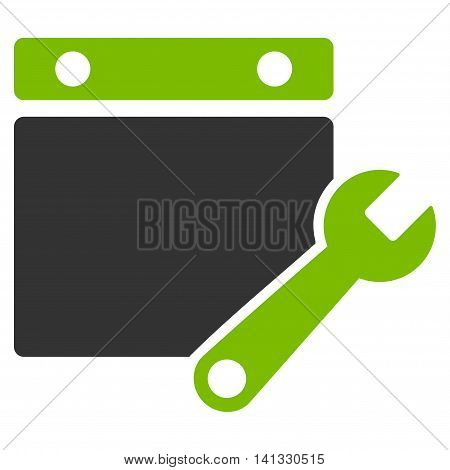 Binder Tuning vector icon. Style is bicolor flat symbol, eco green and gray colors, rounded angles, white background.