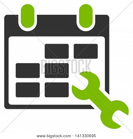 Configure Timetable vector icon. Style is bicolor flat symbol, eco green and gray colors, rounded angles, white background.