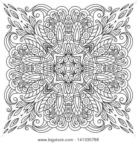 Square coloring book page for adults - floral authentic carpet design, joy to older children and adult colorists, who like line art and creation, vector illustration. Outline embroidery.