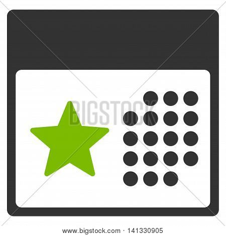 Holiday Binder vector icon. Style is bicolor flat symbol, eco green and gray colors, rounded angles, white background.