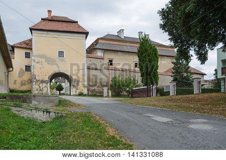 SPISSKA KAPITULA SLOVAKIA - AUGUST 18 2015: The lower gate to the church town Spisska Kapitula Slovakia.
