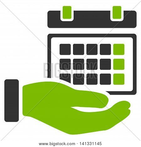 Service Timetable vector icon. Style is bicolor flat symbol, eco green and gray colors, rounded angles, white background.