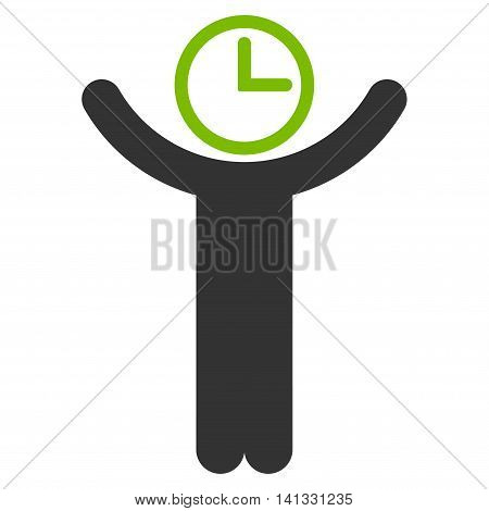 Time Manager vector icon. Style is bicolor flat symbol, eco green and gray colors, rounded angles, white background.