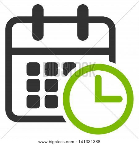 Timetable vector icon. Style is bicolor flat symbol, eco green and gray colors, rounded angles, white background.