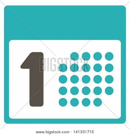 First Day vector icon. Style is bicolor flat symbol, grey and cyan colors, rounded angles, white background.
