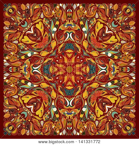 Vector ornament floral Bandana Print, silk neck scarf or kerchief square pattern design style for fabric. Apparel art. Brown orange blue.