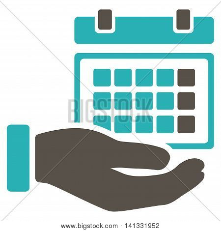 Service Timetable vector icon. Style is bicolor flat symbol, grey and cyan colors, rounded angles, white background.