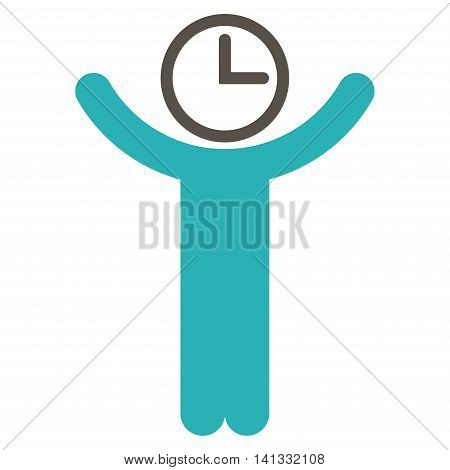Time Manager vector icon. Style is bicolor flat symbol, grey and cyan colors, rounded angles, white background.