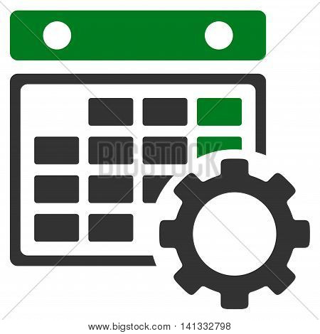 Syllabus Tuning vector icon. Style is bicolor flat symbol, green and gray colors, rounded angles, white background.