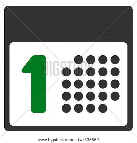First Date vector icon. Style is bicolor flat symbol, green and gray colors, rounded angles, white background.