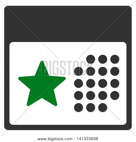 Holiday Binder vector icon. Style is bicolor flat symbol, green and gray colors, rounded angles, white background.