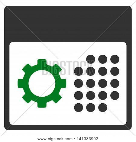 Service Binder vector icon. Style is bicolor flat symbol, green and gray colors, rounded angles, white background.