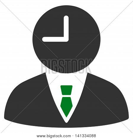Time Manager vector icon. Style is bicolor flat symbol, green and gray colors, rounded angles, white background.
