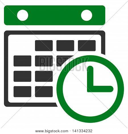 Timetable vector icon. Style is bicolor flat symbol, green and gray colors, rounded angles, white background.