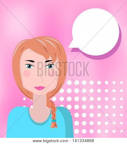 Red hair cartoon style girl on pink background with empty text bubble. Vector illustration for background. Pretty lady answering question. Dialog square image. Social communications in business