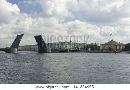 day of the bridges over the Neva River on the St. Petersburg waterfront