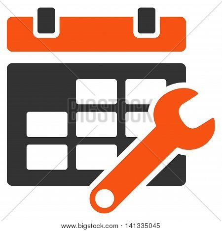 Timetable Configuration vector icon. Style is bicolor flat symbol, orange and gray colors, rounded angles, white background.
