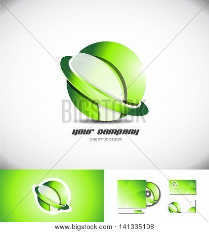 Vector company logo icon element template 3d design sphere ring green games media corporate