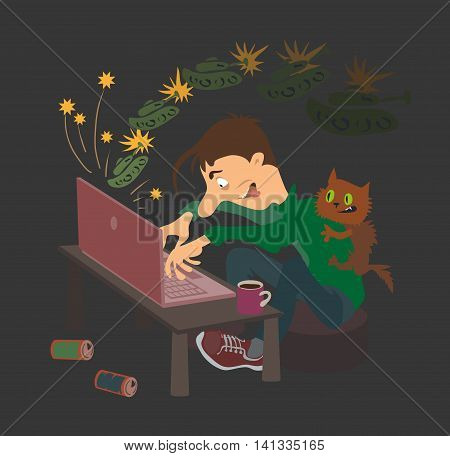 Vector illustration. Cartoon teenager enthusiastically playing video games.