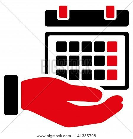 Service Timetable vector icon. Style is bicolor flat symbol, intensive red and black colors, rounded angles, white background.