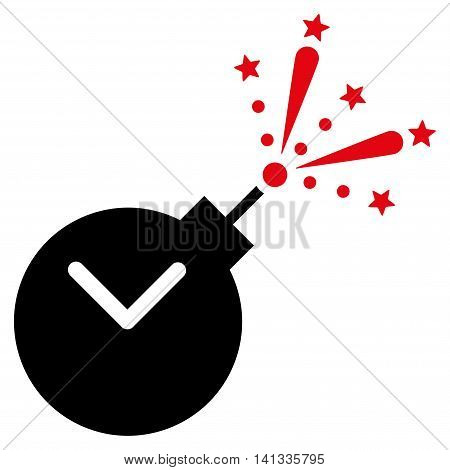 Time Fireworks Charge vector icon. Style is bicolor flat symbol, intensive red and black colors, rounded angles, white background.
