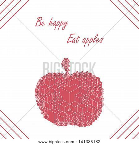Bright cubic apple fruit  unique modern monochrome vector card  template. Vector illustration with place for your text. Apple fruit geometric card  template for variety of purpose