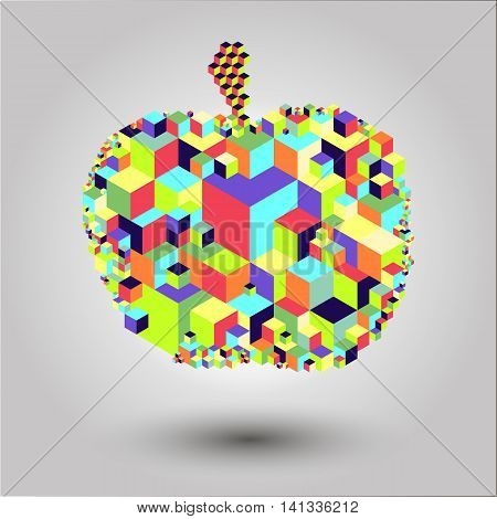 Bright cubic apple fruit  unique modern colorful vector icon. Easy to edit and recolor. Apple fruit geometric icon for web or print use.