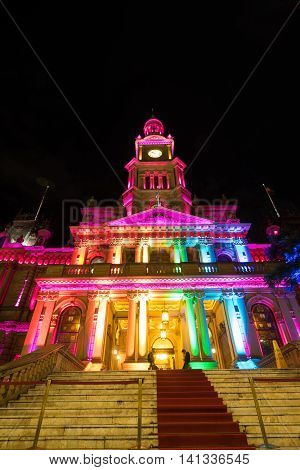 SYDNEY, AUSTRALIA - June 11, 2016: Town Hall during Vivid Sydney festival. Vivid Sydney is an outdoor annual cultural event featuring immersive light installations and projections.