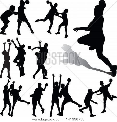 group of handball player in different poses