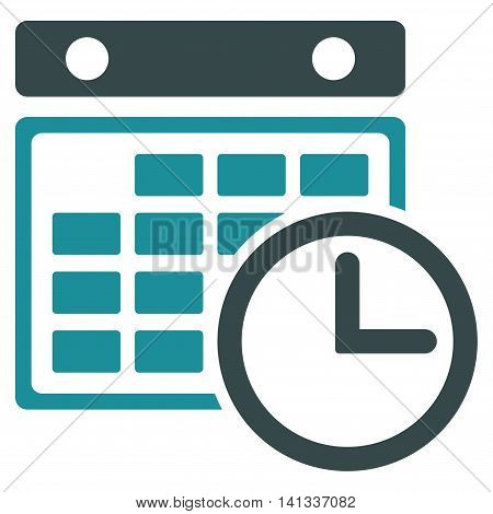 Timetable vector icon. Style is bicolor flat symbol, soft blue colors, rounded angles, white background.
